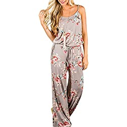 AMiERY Floral Printed Jumpsuit Women Halter Sleeveless Wide Long Pants Jumpsuit Rompers (S, Khaki)