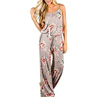 AMiERY Floral Printed Jumpsuit Women Halter Sleeveless Wide Long Pants Jumpsuit Rompers