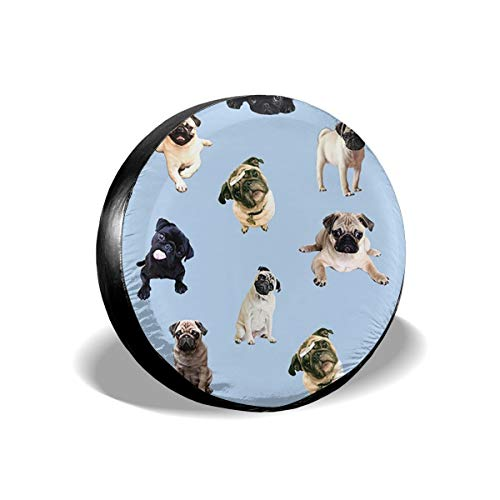 Spare Tire Cover, Pug Printing Wheel Protectors PVC Waterproof Dustproof for Jeep Trailer SUV RV and Many Vehicles(14,15,16,17 Inch) ()