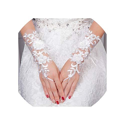 Sexy Wedding Gloves Flowers Beads Handmade Fingerless Bridal Gloves Bride Wedding Accessories,Beige