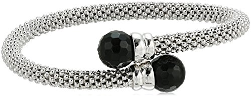Sterling Silver Italian Rhodium Plated and Onyx Popcorn Cuff Bracelet by Amazon Collection