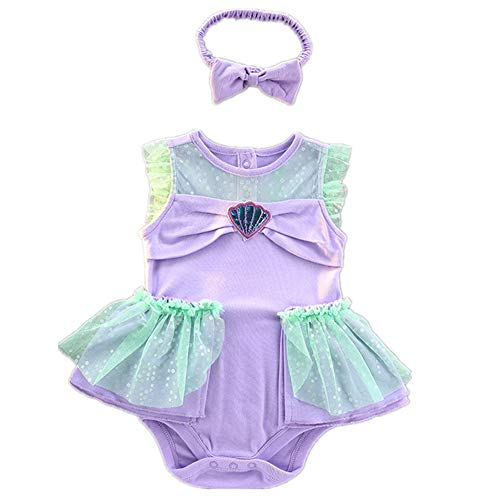 Tsyllyp Baby Girl Mermaid Princess Costume Halloween Party Romper Dress Birthday Outfit with Headband 2Pcs -