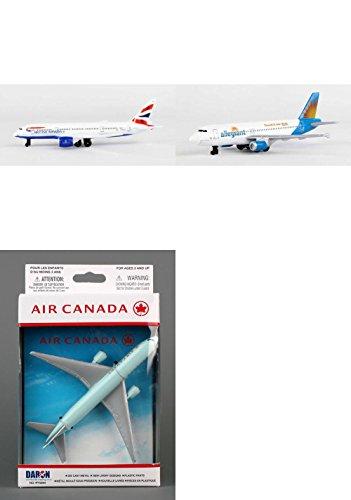 "Daron British Airways, Allegiant, Air Canada Airlines Diecast Airplane Package - Three 5.5"" Diecast Model Planes"