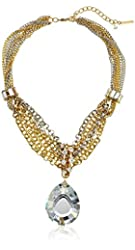 "Steve Madden ""Glitz Glam"" Crystal Teardrop Mixed Multi-Chain Pendant Necklace"