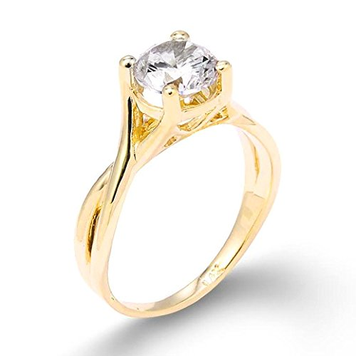 10k Yellow Gold 2.50 ct CZ Infinity Band Solitaire Proposal Engagement Ring(Size 10.5)