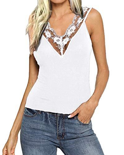 Lace V-neck Blouse - YOINS V Neck Lace Details Vest Blouse Basic Womens Camis Tanks Top Vest WW-White L