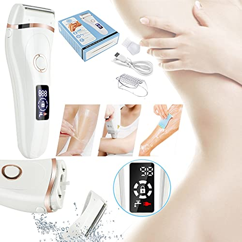 HXS Hair Remover for Women and Men, Electric Razor Women's Shaver Bikini Trimmer Body Hair Removal for Arm Legs and Underarms Rechargeable Wet and Dry Painless Cordless with LED Light (White)