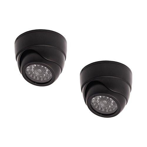 2 Dummy Replica Criminal Surveillance Imitation Dome Camera With LED, Black ()