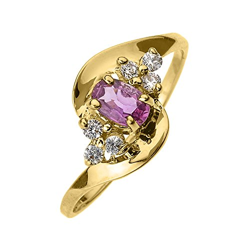 Solid 10k Yellow Gold Beautiful Diamond and Pink Sapphire Proposal and Birthstone Ring (Size 10.5) Claddagh Pink Sapphire Ring