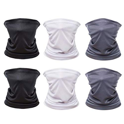 [6 Pack] Unisex Face Bandana Neck Gaiter, Reusable Washable Cloth Fabric Tube Scarf Motorcycle Balaclava for Men Women