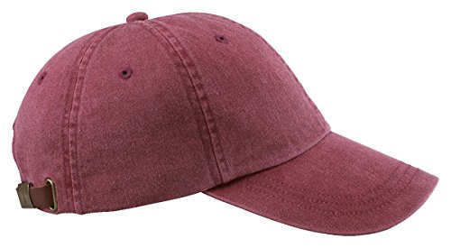 Adams Cap 6-Panel Low-Profile Washed Pigment-Dyed Baseball Cap AD969 red One (Unstructured 6 Panel Garment)