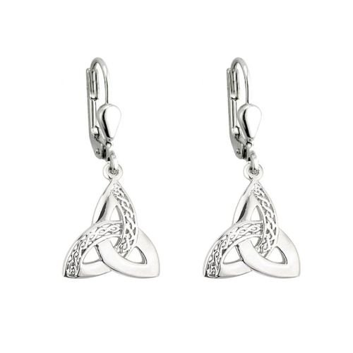 Solvar Celtic Trinity Knot Earrings Silver Drops Irish Made