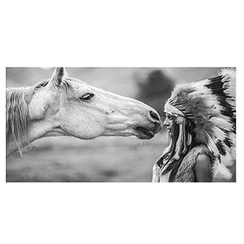 Karen Max Black and White Native American Indian with Horse Portrait Canvas Art Scandinavian Poster Print Wall Picture for Living Room Frameless (Anpassen Oder Anpassen)