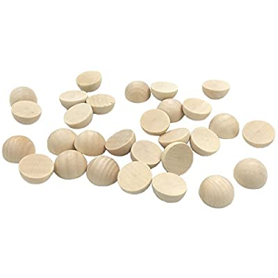 Wendysun 50Pcs 15mm Unfinished Half Hemisphere Natural Wood Ball Sticker Patch Cabochon Charm Findings DIY Accessory Jewellry Making : Baby