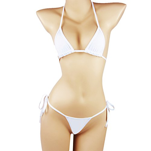 SSQueen Womens Cotton Lace-Up Bikini Low-Waisted Thong Panty Sexy Bra (White), (One Size Fits Waistline: 24.5-39.0 inch/62-100cm) (Panty White String Bikini)