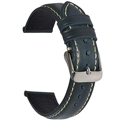 Vintage Leather Watch Band EACHE Watch Strap Oil Wax Genuine Leather Replacement Watchband for Men for Women 18mm Dark Blue Silver Buckle (Strap Effect Leather Watch)