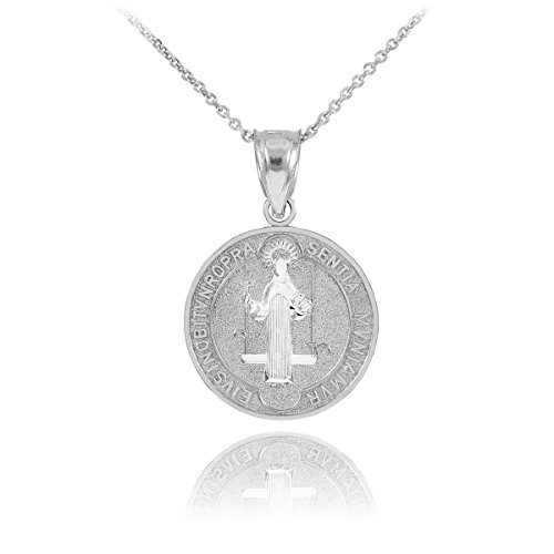 - 925 Sterling Silver Saint Benedict Medal Protection Pendant Necklace (0.60 Inch in Diameter), 20