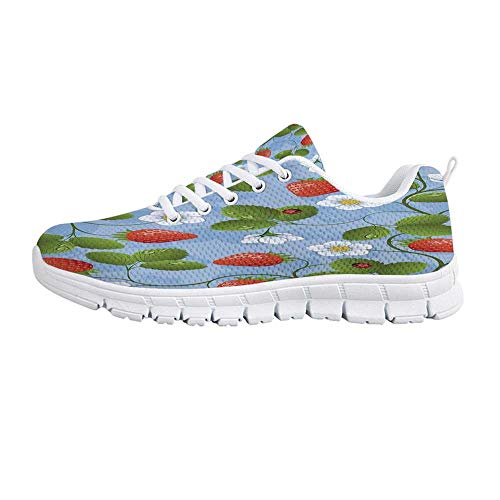 TecBillion Ladybugs Comfortable Sports Shoes,Strawberries Daisies and Ladybugs Looks Like Ivy Plant Spotted Insects Image for Men & Boys,US Size 8 ()