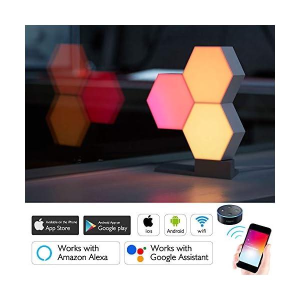 Yescom Wifi Smart Led Light Kit Splicing 3 Blocksbase 16 Million Color Work Cololight With Alexa Google Home Decor