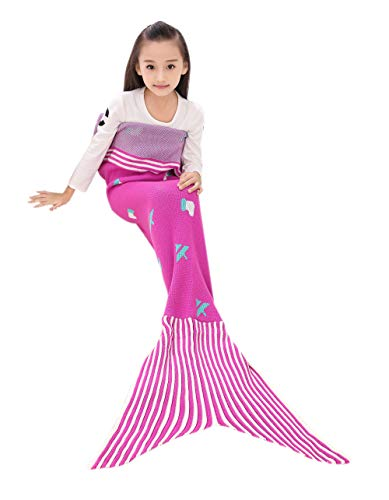 QETU Children's Mermaid Tail Blanket, Cashmere Knit Blanket Air-Conditioning Blanket, Climb This Comfortable Wearable Blanket,Rosered