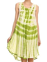 Sakkas Frankie Two Tone Tie Dyed Tank Dress / Cover Up With Embroidery Neckline