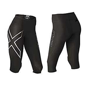 2XU Women's Hyoptik Mid-Rise Thermal 3/4 Compression Tights, Black/Silver Reflective, X-Large