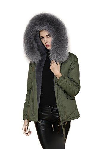 Lea-Marie �?parka XXL, con cuello de pelo auténtico 100%, corta, color caqui, 8colores gris
