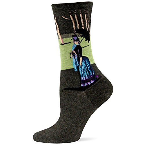 Hot Sox Women's Artist Series Crew Socks, A Sunday Afternoon (Light Turquoise), Shoe 4-10/Sock Size 9-11 -