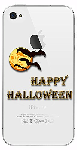 Silicone Gel Cover Case with Halloween design for Iphone 4 4s (hall03s)