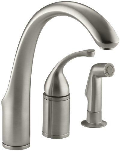 (KOHLER K-10430-BN Forte Single Control Remote Valve Kitchen Sink Faucet with Sidespray and Lever Handle, Vibrant Brushed Nickel)