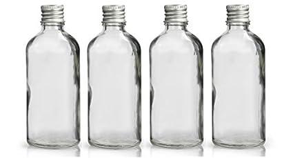 100ml Vidrio Transparente Botellas Con Bonito aluminio PLATA Cápsulas - Paquete de 4