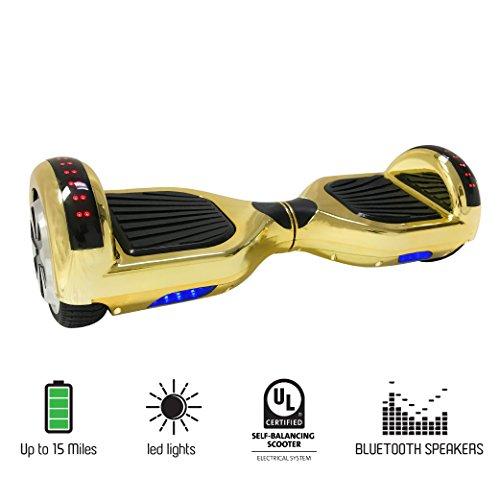 6.5″ Wheels Electric Scooter Smart Self-Balancing Hoverboard With Bluetooth Speaker and LED Lights UL2272 Certified Approved (Gold)