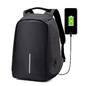 Anti-Theft Laptop Backpack Travel Bag Water Repellent w/USB Port Travel Busines (Black)