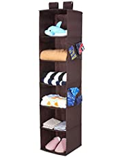 Magicfly Hanging Closet Organizer, 6-Shelf Hanging Clothes Storage Box Polypropylene Collapsible Hanging Shelves Clothes Storage Accessories, Easy Mount