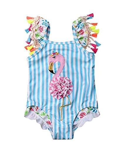Koloyooya Kids Toddler Baby Girl One Piece Swimsuit Beach Wear Striped Flamingo Tassels Swimwear Bathing Suits 0-6 Months Blue (Blue, 100(2-3 Years)) ()