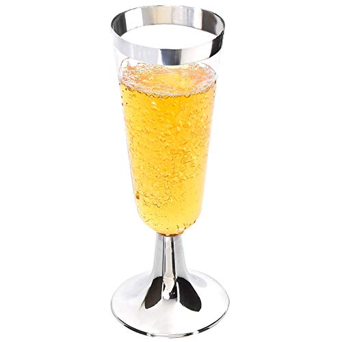 50 Pack Plastic Champagne Flutes with Silver Rim, Disposable Champagne Glasses 6 Oz, Perfect for Champagne, Bloody Mary, Sodas, Cocktail, Sundaes and other Desserts