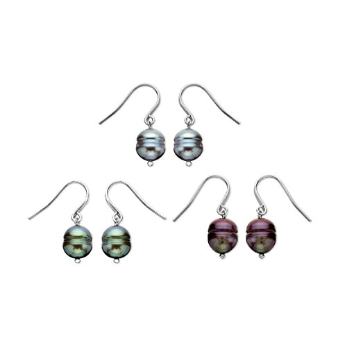 Honora Multi-Color Freshwater Cultured Pearl Drop Earring Set in Sterling Silver - Honora Cultured Freshwater Pearl Drop