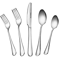 60 PCS Silverware Flatware Set with Dinner Knives, Forks and Spoons of Dessert & Dinner, Anti-rust Stainless Steel Cutlery Set Modern Kitchen Tableware Dinnerware by Umite Chef