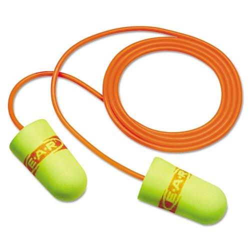 3M E-A-Rsoft Superfit 311-1254 Yellow Medium Polyurethane Foam Disposable Corded Cone Ear Plugs - 33 dB NRR - 70071515145 [PRICE is per PAIR] by 3M   B000TWR318