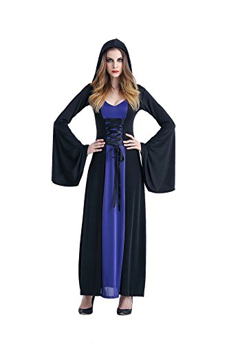 Sinatar Halloween Queen Witch Vampire Cosplay Court Costume Stage-wear Hooded Dress (Blue) (Plus Size Drag Queen Clothes)