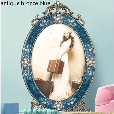 Tequila DS Picture Frame European Vintage Antique Bronze Blue Enameled and Rhinestone Jeweled Oval Footed Metal Picture Frame