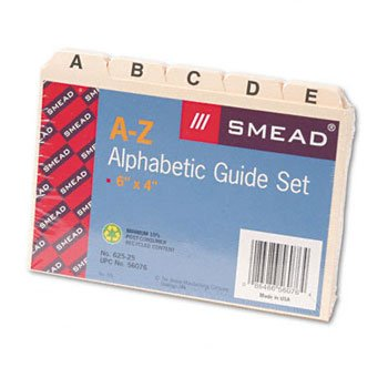 Smead® Manila Card Guides GUIDE,INDEX,A-Z,4X6 (Pack of20)