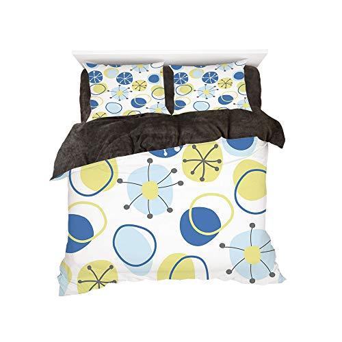 iPrint Flannel Duvet Cover Set 4 Pieces Bedlinen Winter Holiday for Bed Width 6ft Pattern by,Yellow and Blue,Random Doodle Circles Abstract Floral Children Pattern,Light Yellow Grey Baby Blue