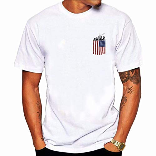 Men T Shirt,Toponly Boy Plus Size American Flag Print Patriotic Tees Short Sleeve Muscle Build Tactical Tee Blouse Tops ()