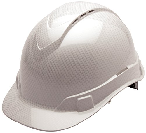 Pyramex Ridgeline Cap Style Hard Hat, Vented, 4-Point Ratchet Suspension, Shiny White Graphite Pattern