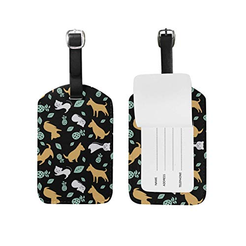 - Travel Cat Dog Pet LeatherLuggage Tags with Black Strap, 2 Piece