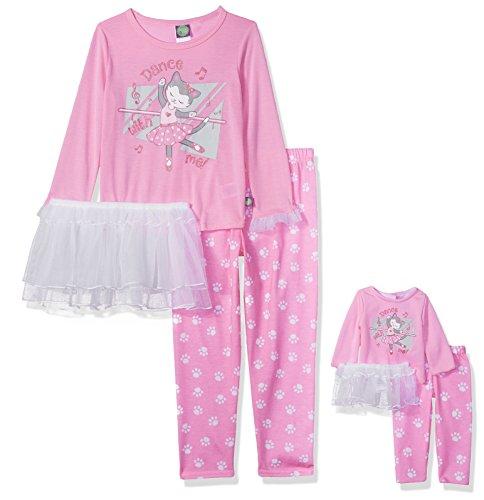 Dollie & Me Little Girls' Tutu Sleep Set, Pink/White, (Dolly And Me Pajamas)