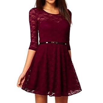 Zicac Spitzenkleid kurz Sommer Spitze Elegantes Kleid Abendkleider Spitze  Lila Beige Weinrot abendkleider mit gürtel ( 88c33f77b2