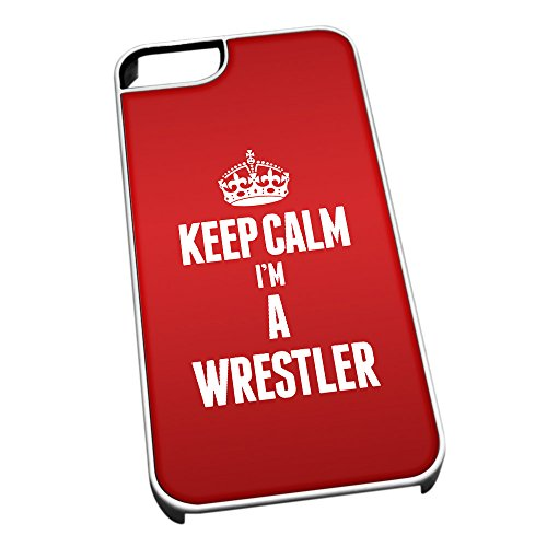 Bianco cover per iPhone 5/5S 2717 Red Keep Calm I m A Wrestler