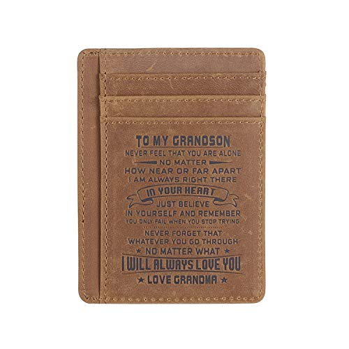 Leather Slim Wallet for Son Daughter, Husband Gifts from Wife, RFID Blocking Minimalist Front Pocket Wallet (Gift for grandson from Grandma)